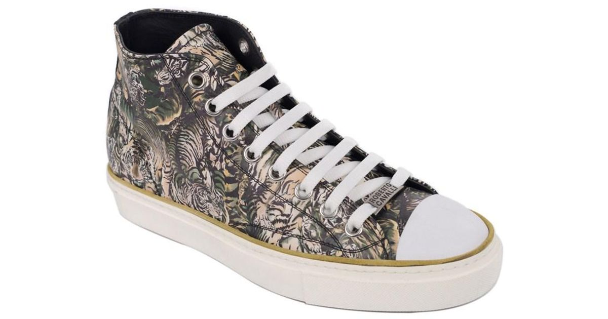 Roberto CavalliMen's Mike Tiger-Print High-Top Sneakers Men's Shoes 9QpLy