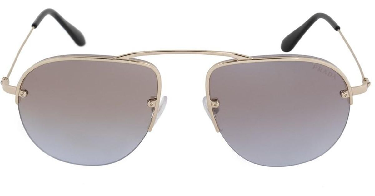 2a8025ee4ca ... discount lyst prada teddy pilot sunglasses pr58os zvn2h2 55 gold frame  mauve mirrored gradient lenses in