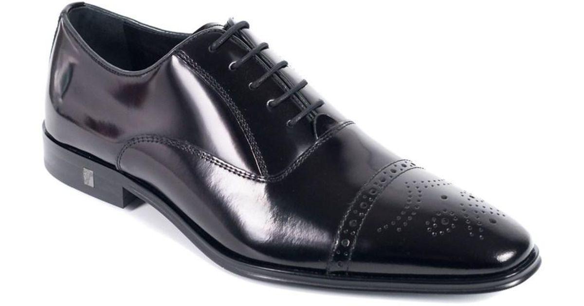 29697303d5 Collection Shoes Leather Wingtip Lyst Versace Men's Black 0xz65