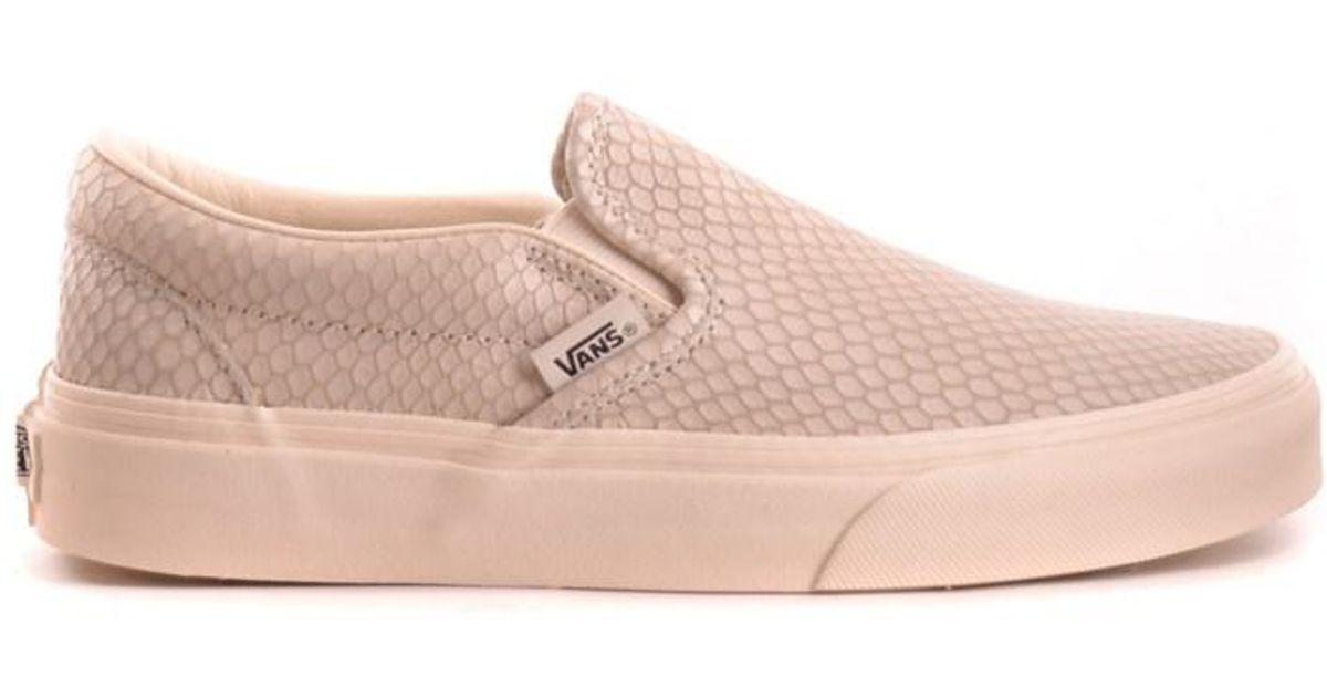 00ccc71f96 Lyst - Vans Women s Beige Leather Slip On Sneakers in Brown