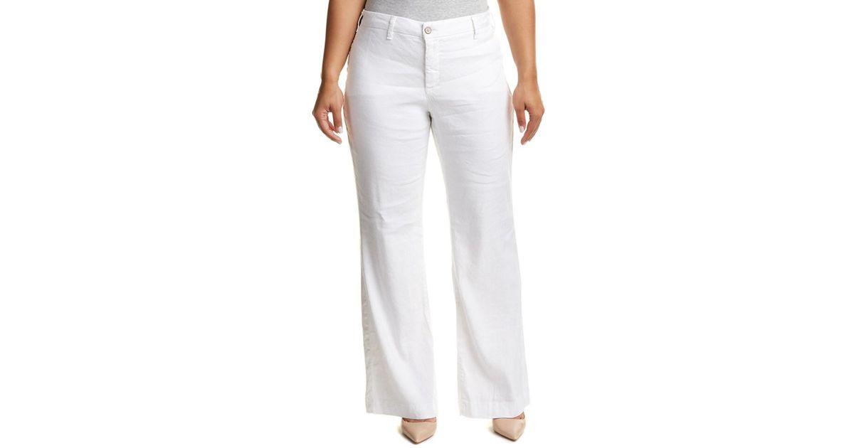 6c55c4fceb Lyst - Nydj Plus Claire Optic White Linen-blend Trouser in White