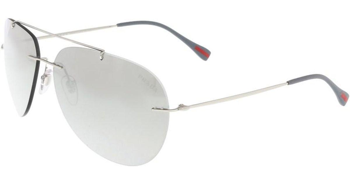 ee3b2f4d6bfe ... clearance lyst prada ps 50ps 1bc2b0 silver rimless aviator sunglasses  in metallic for men 9db47 031de