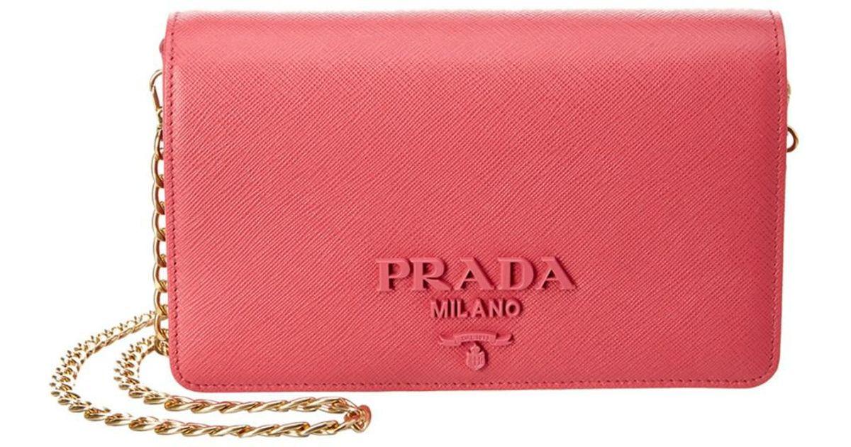 fbd6dda2ef60 ... uk lyst prada monochrome saffiano leather wallet on chain in pink 2411c  a51af