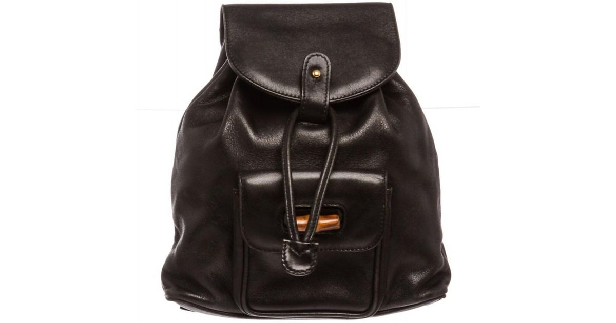 5072f1cadf43 Gucci Pre Owned- Black Leather Drawstring Bamboo Mini Backpack in Black -  Lyst