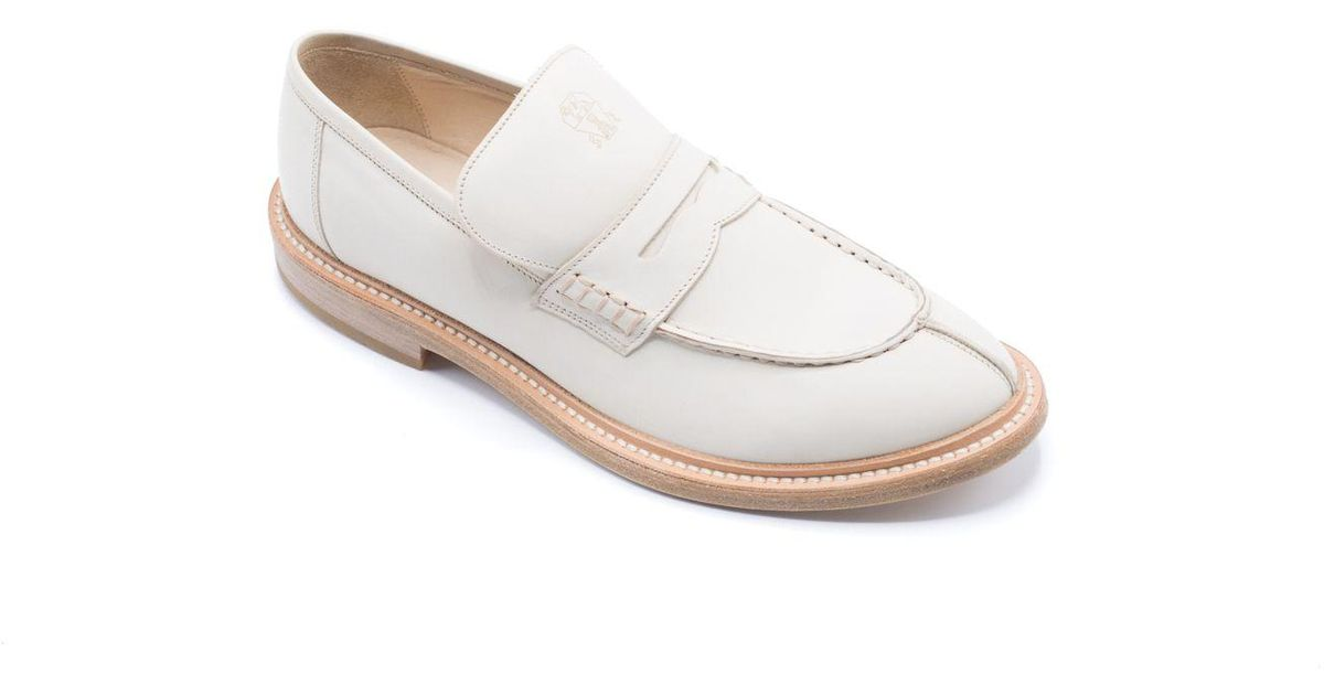 bdaf9deeb984e Brunello Cucinelli - Womens Off White Leather Pointed Toe Slip On Loafers -  Lyst