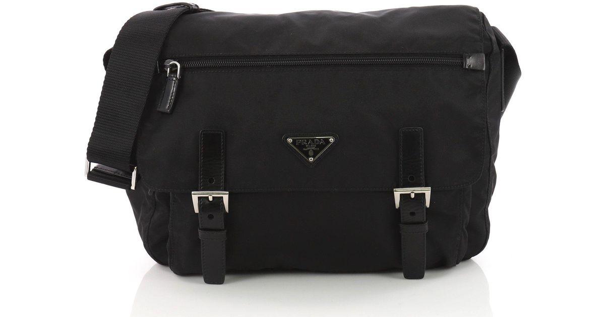 a5b03f1636121 Lyst - Prada Pre Owned Buckle Messenger Bag Tessuto Medium in Black