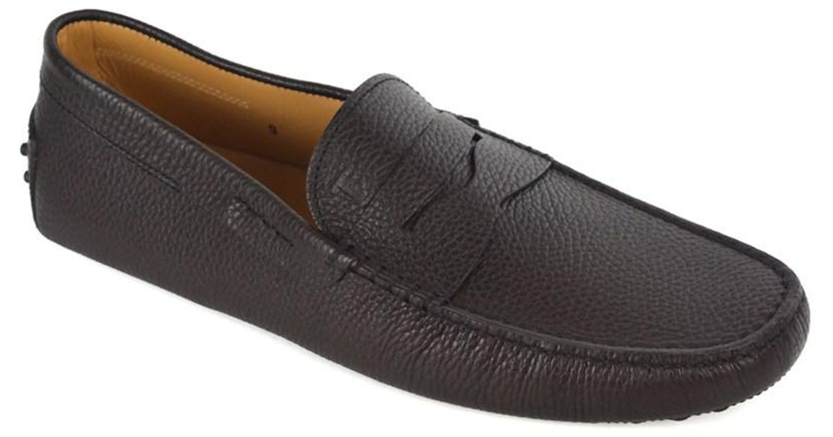Lyst - Tod'S Men's Brown Grained Leather Driving Penny ...