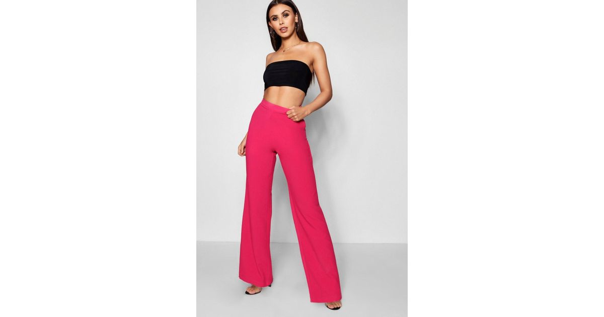 b041695320c4 Lyst - Boohoo Petite Straight Leg Woven High Waisted Trouser in Pink