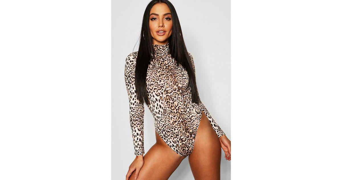 Lyst - Boohoo Leopard Print High Neck Long Sleeve Bodysuit in Brown 2416d6923