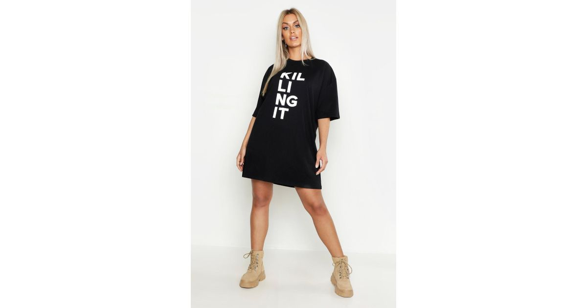 2a67180057 Lyst - Boohoo Plus Killing It Oversized T-shirt Dress in Black