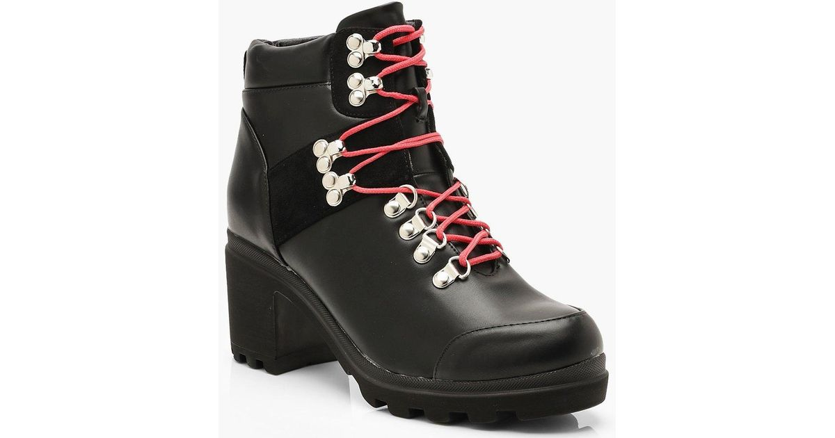 9f788924839 Boohoo Chunky Block Heel Belt Strap Hiker Boots in Black - Lyst