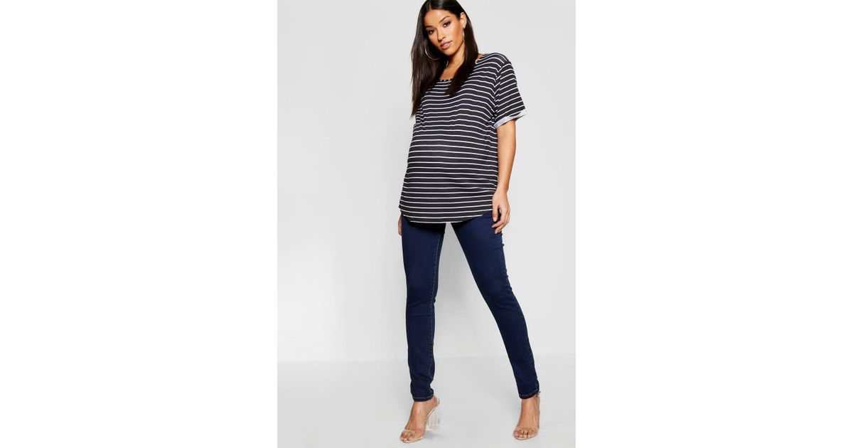 9c59376358e6d Lyst - Boohoo Maternity Over The Bump Skinny Jean in Blue