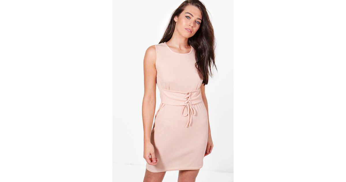 73a70d5a95569 Lyst - Boohoo Sophie Rib Corset Belt Sleeveless Bodycon Dress in Pink