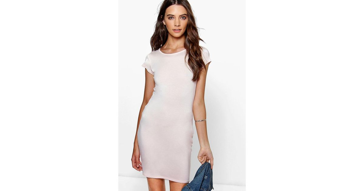 d14f2711e4b91 Lyst - Boohoo Mai Basic Scoop Neck Bodycon Dress in Natural