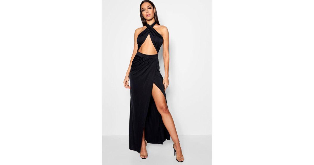 c8f40b9559a93 Lyst - Boohoo Slinky Wrap Top Thigh Split Maxi Dress in Black
