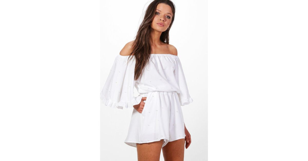 110099368a7 Boohoo Off The Shoulder Pearl Embellished Playsuit in White - Lyst