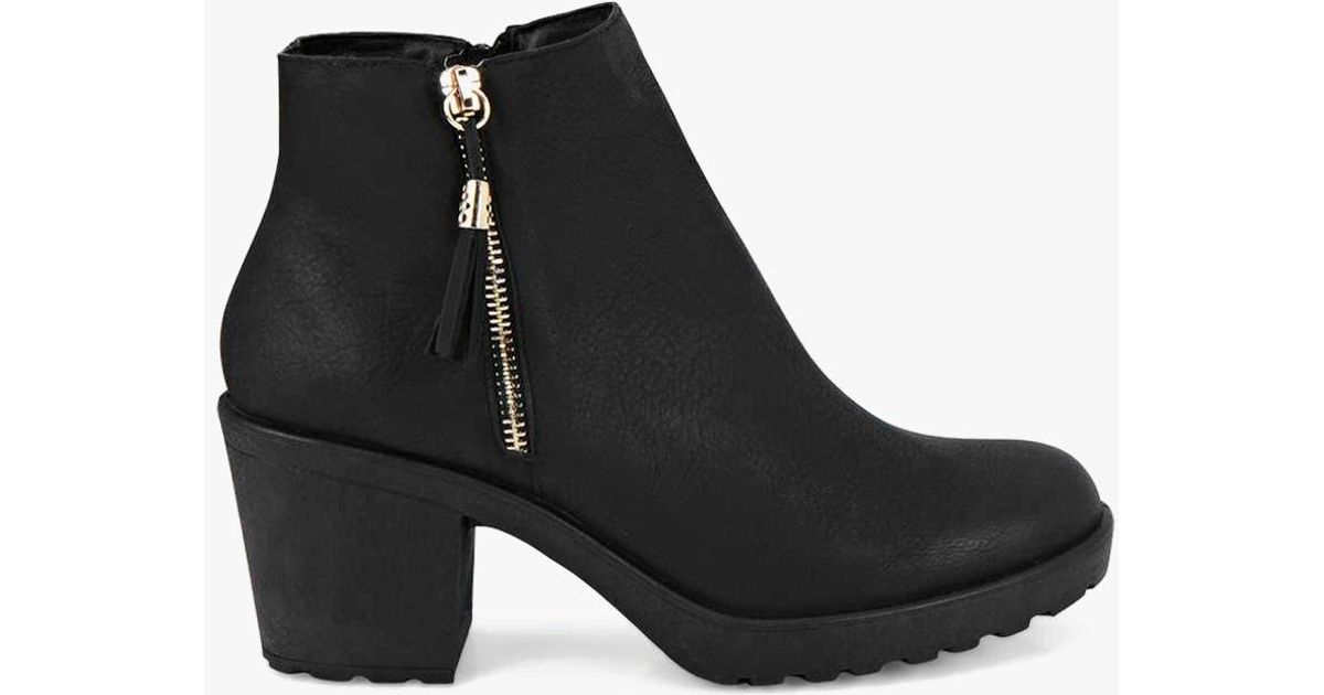 64135d49d10 Lyst - Boohoo Fringe Trim Block Heel Chelsea Boots in Black - Save 13%