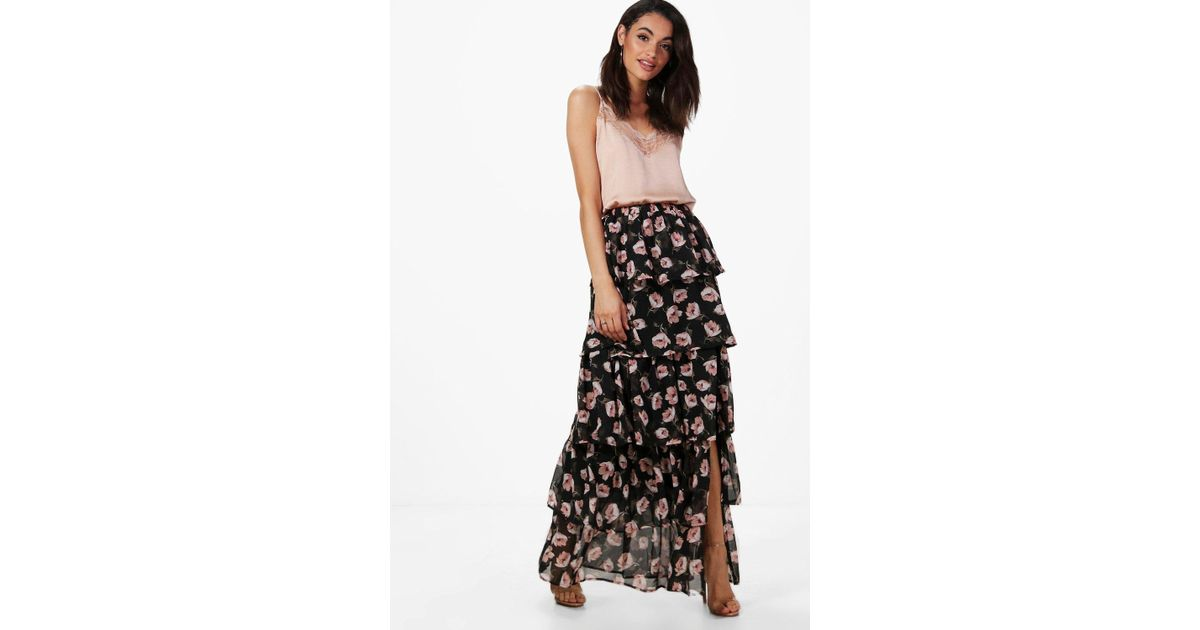 b2645970de808 Boohoo Large Floral Ruffle Tiered Maxi Skirt in Black - Lyst
