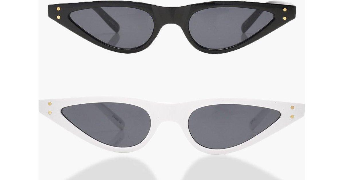 cfee7161d23 Boohoo 2 Pack Skinny Cat Eye Sunglasses - Lyst