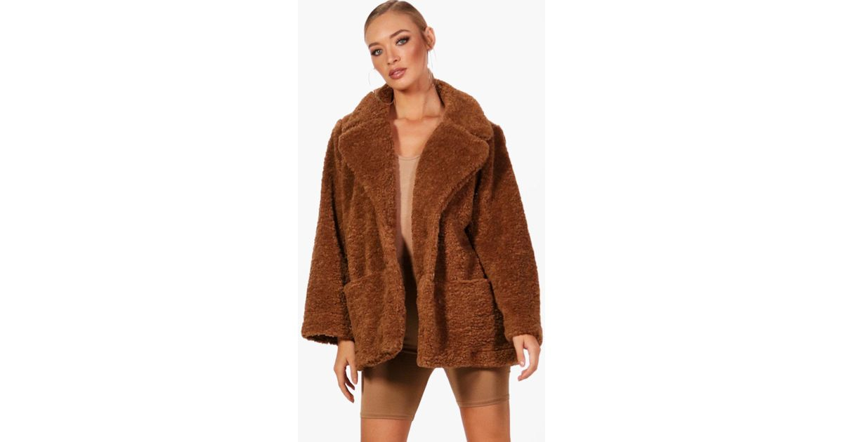 1168331f37e87 Boohoo Molly Teddy Faux Fur Coat in Brown - Lyst