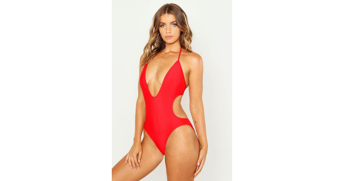432c66831d6 Lyst - Boohoo Kos Deep Plunge Swimsuit in Red