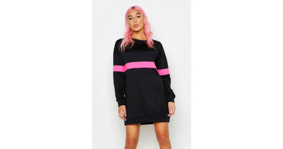 9e37cf8567f Lyst - Boohoo Neon Stripe Sweater Dress
