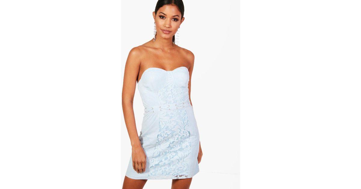 Boohoo Blue Suedette Lace Up Lace Bandeau Dress Lyst