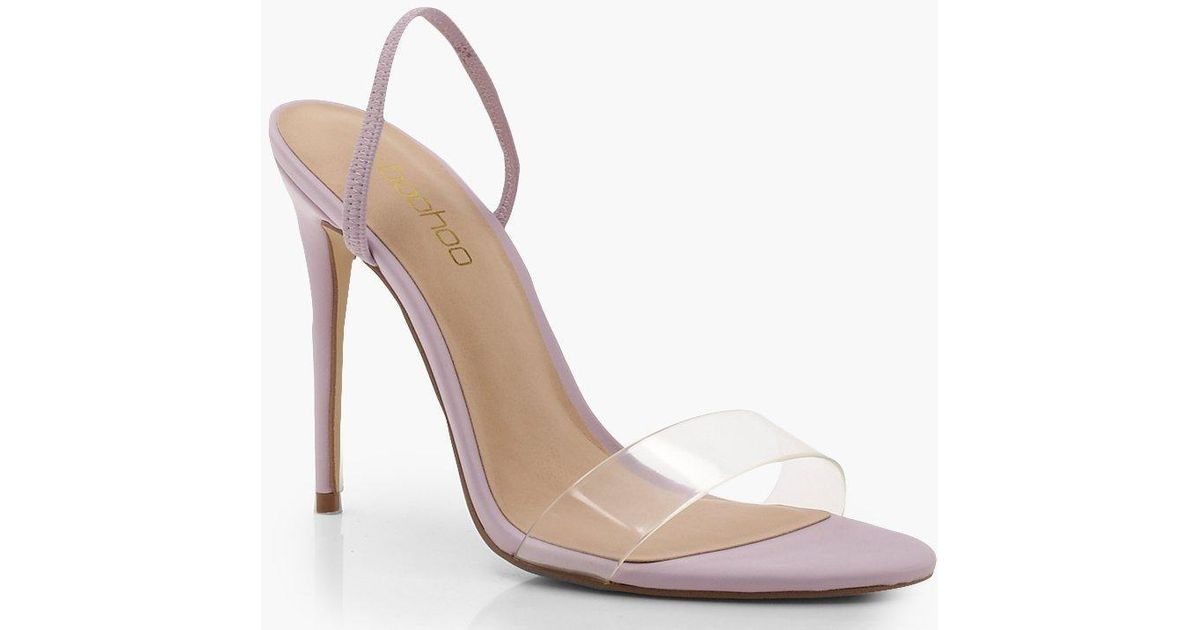 33641395ee21 Boohoo Clear Strap Sling Back Heel Sandals in Purple - Lyst