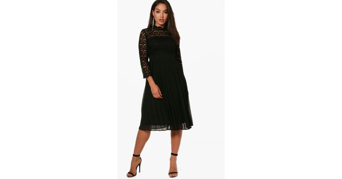 da969d857c906 Lyst - Boohoo Emily Lace Top Pleated Midi Skater Dress in Black