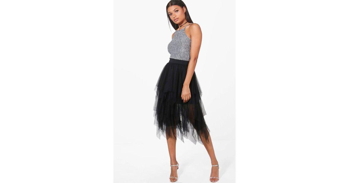 5dc28419eb67bf Boohoo Boutique Nolita Layered Tulle Midi Skirt in Black - Lyst
