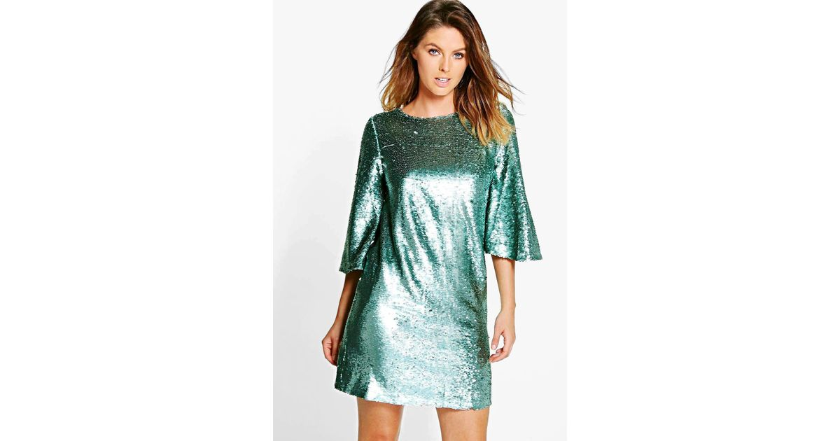 3c5d74370ec52 Lyst - Boohoo Boutique Leila All Over Sequin Shift Dress in Blue