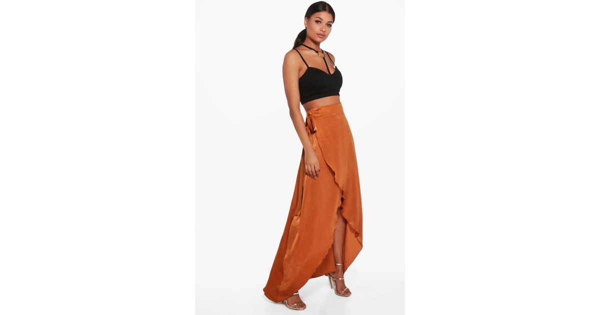 d4fd1ac957 Boohoo Tie Waist Wrap Front Luxe Maxi Skirt Pick A Best Sale Online  pTWZ6fXUMQ