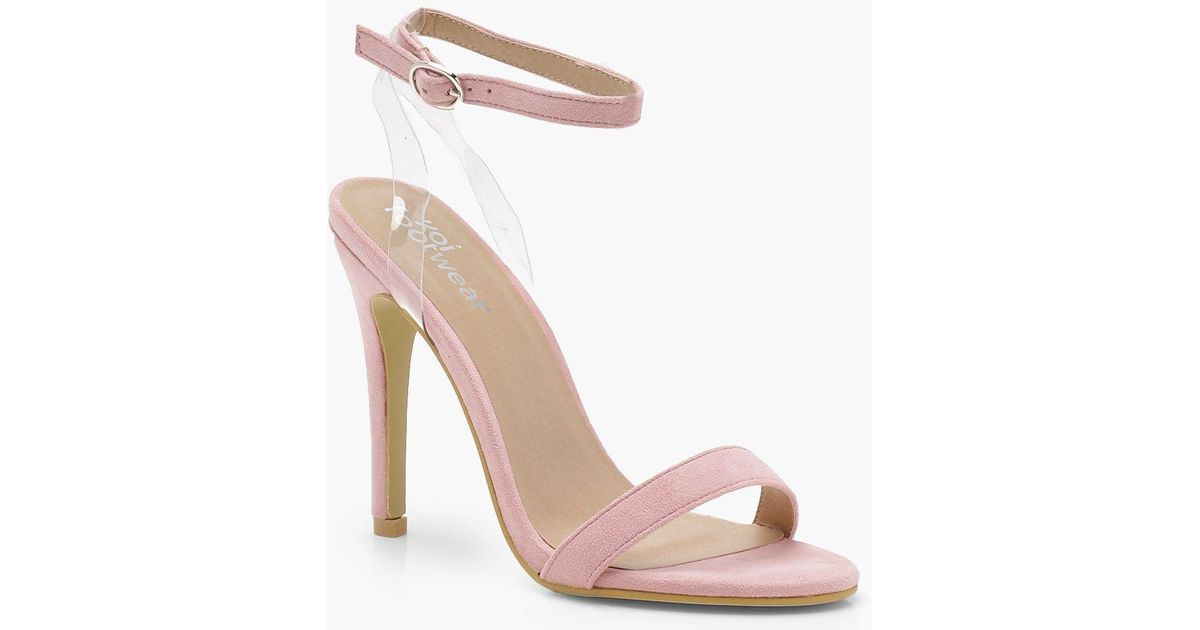 3763f727503 Lyst - Boohoo Clear Strap Barely There Heels in Pink