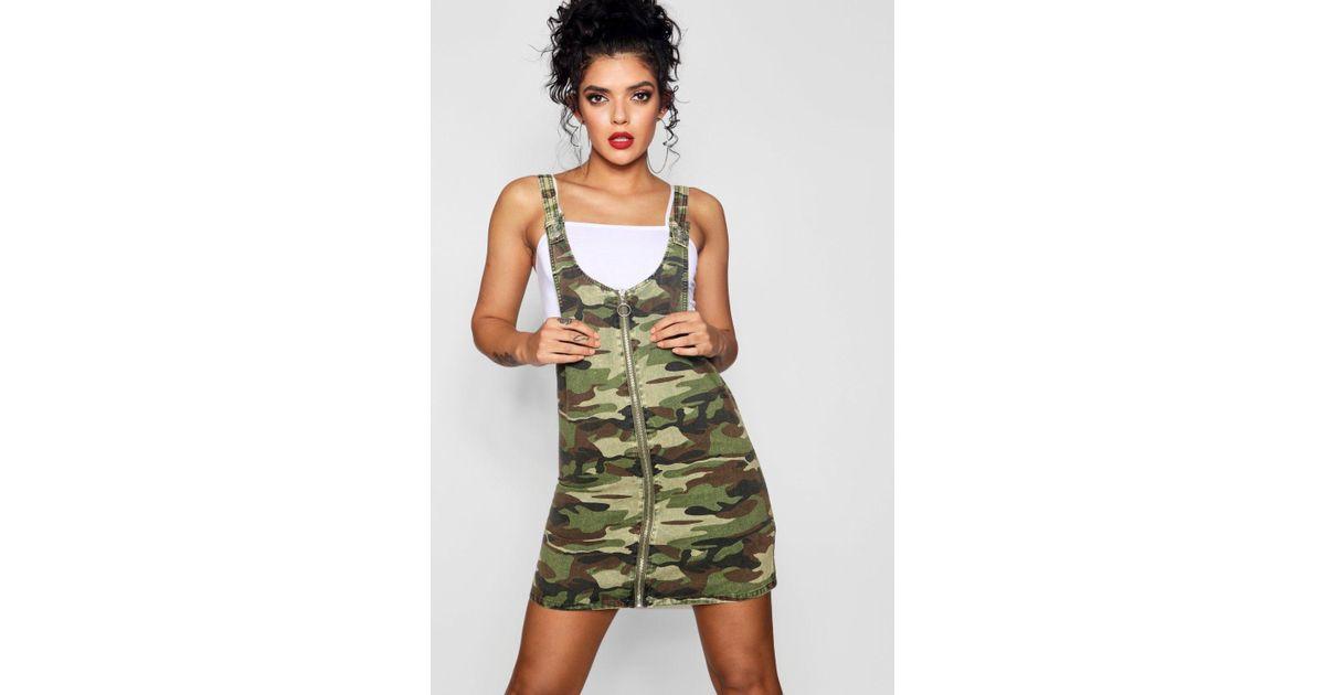 f74558ba7b Lyst - Boohoo Camo O-ring Zip Through Denim Pinafore Dress in Green