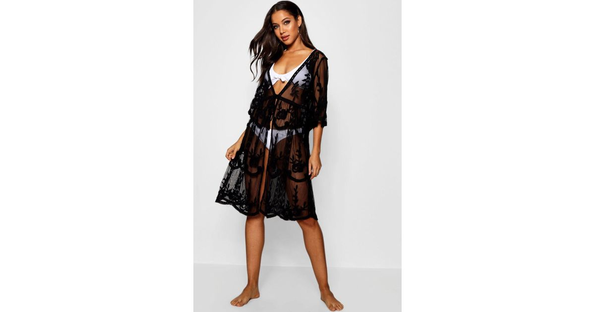 2bcdf7bfc9f Boohoo Embroidered Lace Beach Cover Up in Black - Lyst