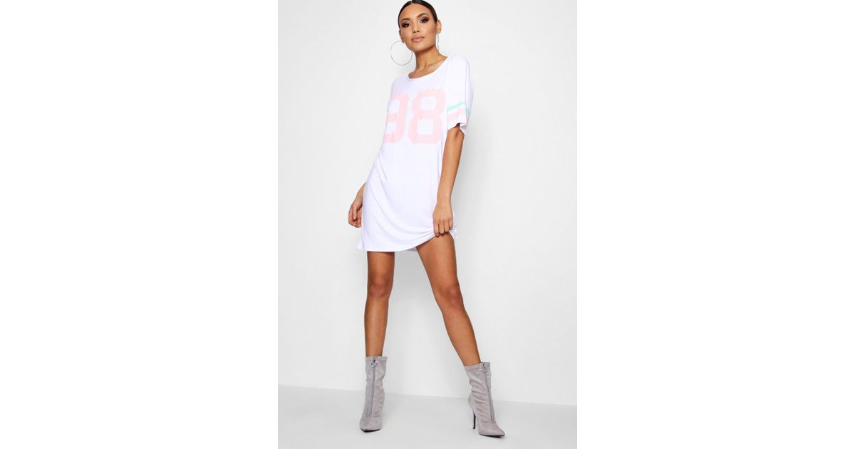 d174ca63e4 Lyst - Boohoo Varsity Print T-shirt Dress in White