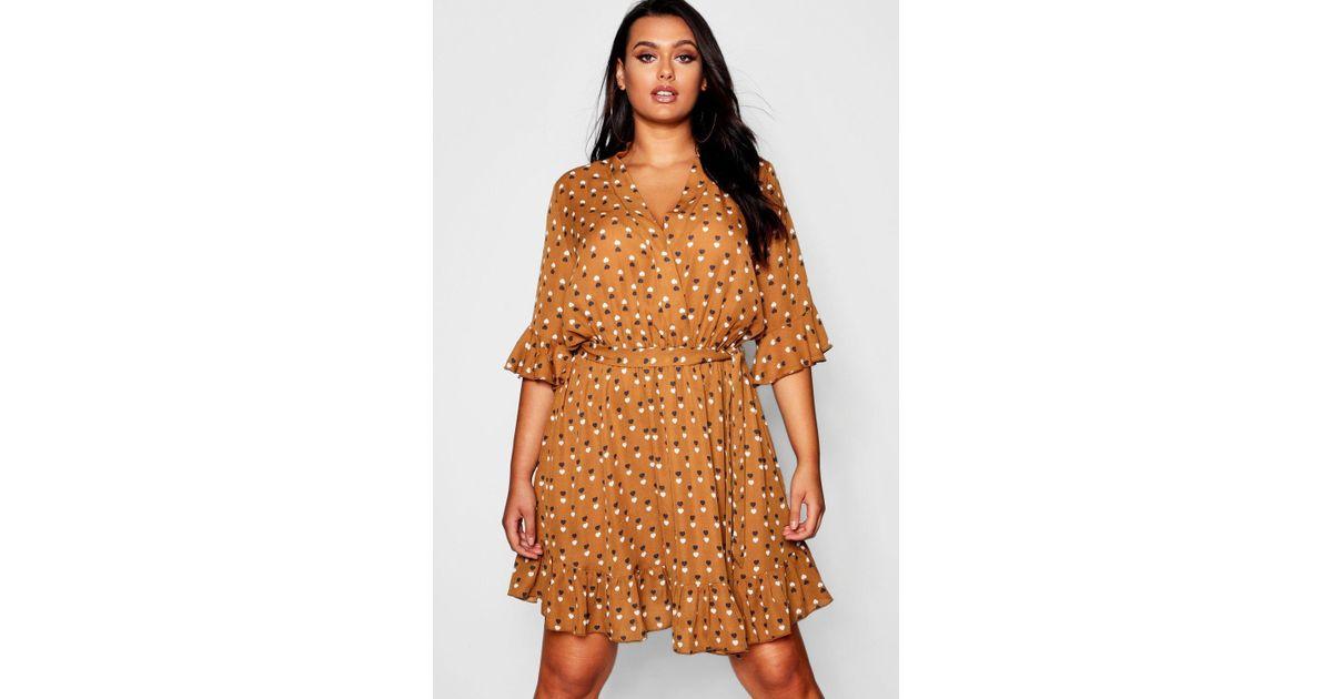 6299521d47 Lyst - Boohoo Plus Heart Print Ruffle Hem Skater Dress