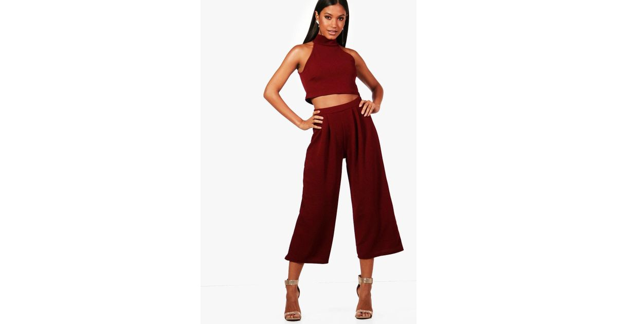 7267c623396f4e Boohoo Rose High Neck Crop   Long Culotte Co-ord Set in Red - Lyst