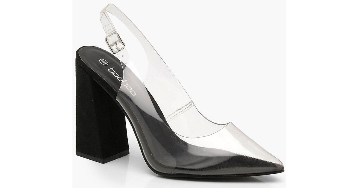 cbc93246b3f Lyst - Boohoo Clear Block Heel Pointed Court Shoes in Black