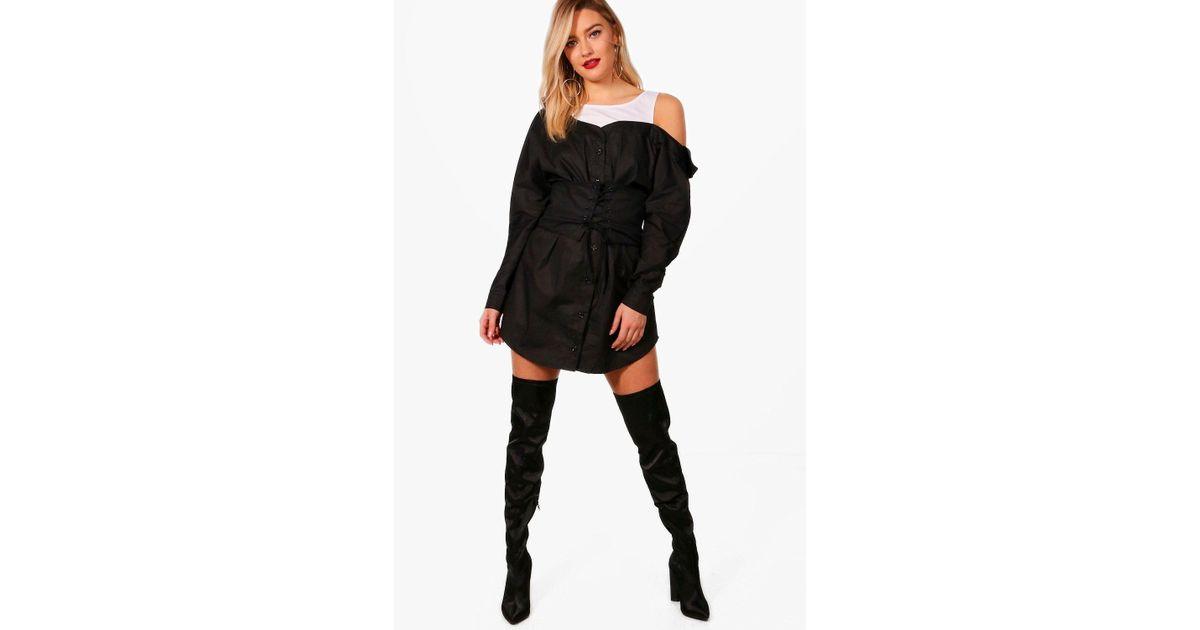 fcbe6ec99e Lyst - Boohoo Off The Shoulder Corset Belt Shirt Dress in Black
