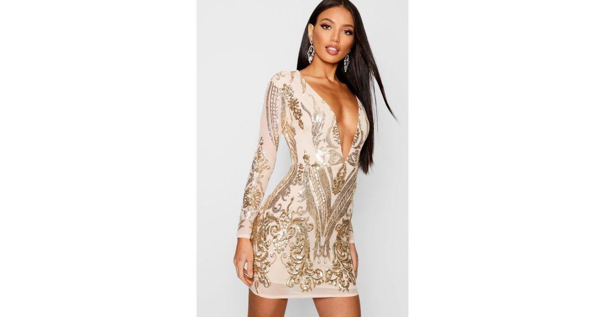 e6854ae6 Boohoo Boutique Sequin Mesh Bodycon Dress in Metallic - Lyst