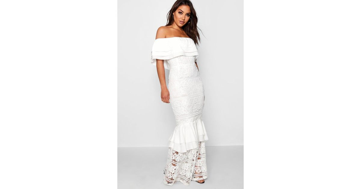 65401531ea83 Boohoo Lace Off The Shoulder Maxi Dress in White - Lyst