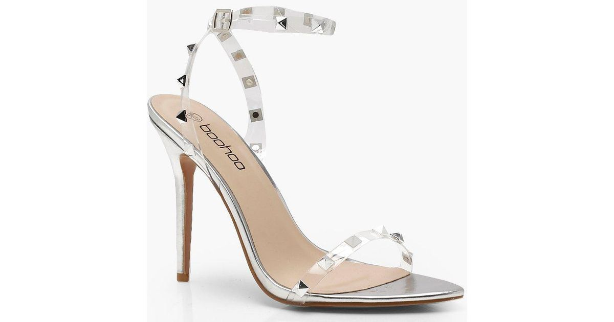 57a5ec0419 Boohoo Clear Studded Strap Barely There Heels in Metallic - Lyst