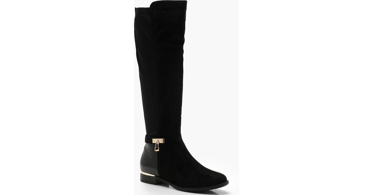 b45f5be28eb3 Lyst - Boohoo Croc Panel Stretch Back Flat Knee High Boots in Black