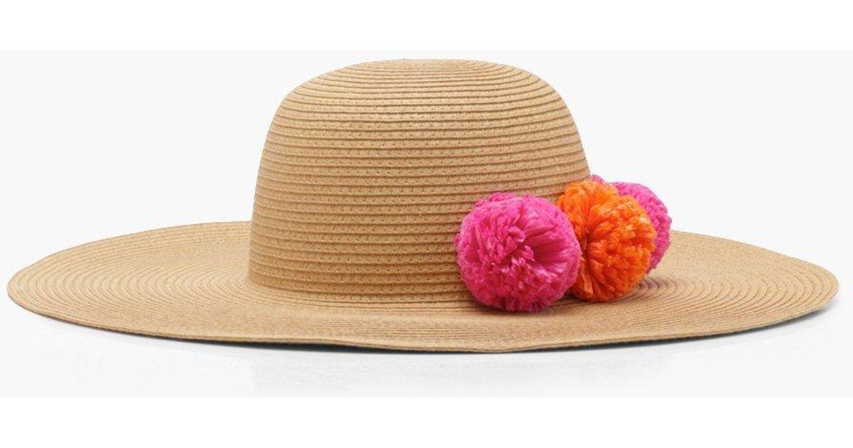 75f785d48e944 Lyst - Boohoo Straw Pom Pom Floppy Hat in Orange
