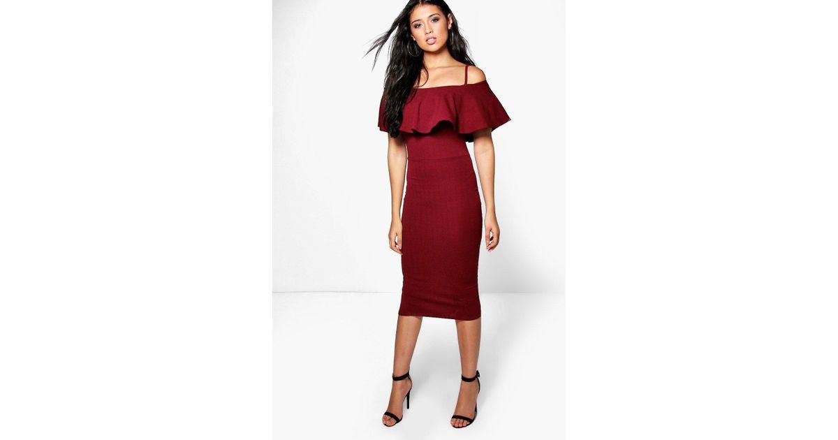 849843b526bd7 Lyst - Boohoo Suzy Strappy Off Shoulder Midi Bodycon Dress