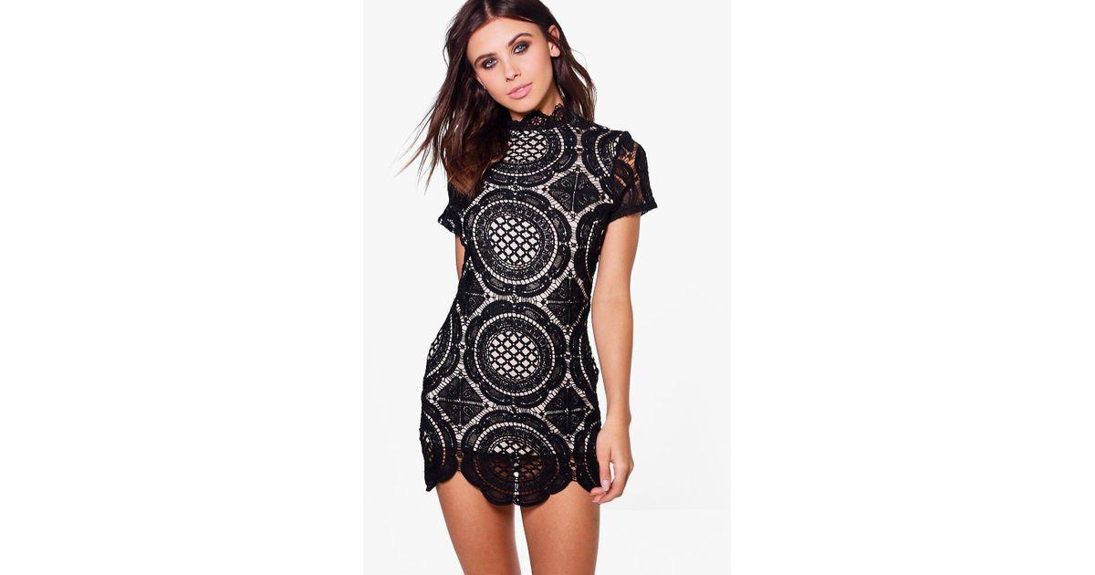 ebf1b71ef0 Boohoo Petite Crochet Lace High Neck Bodycon Dress in Black - Lyst