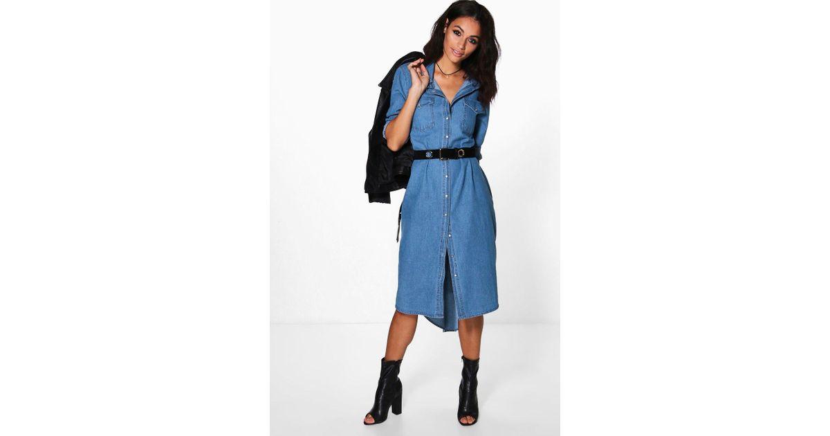 0b5b6668ed8 Lyst - Boohoo Diana Denim Long Shirt Dress in Blue