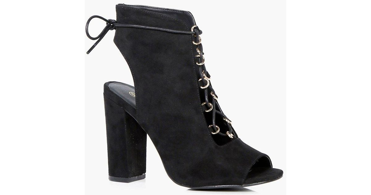437ae5565789 Boohoo Tia Wide Fit Lace Up Shoe Boots in Black - Lyst