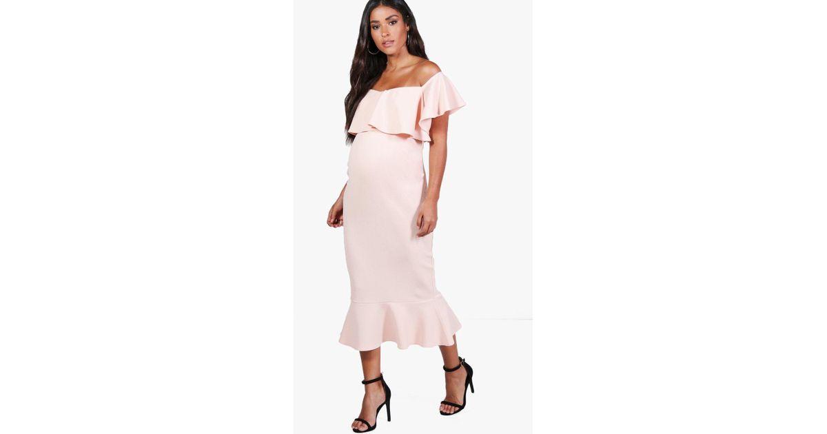 c66d95935d79 Lyst - Boohoo Maternity Lola Off The Shoulder Frill Midi Dress in Pink